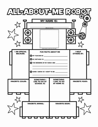 All About Me Worksheet Pdf Awesome All About Me Robot Fill In Poster