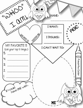 "All About Me Worksheet Pdf Elegant ""whoo"" I Am All About Me Owl themed Printable by Deanna"