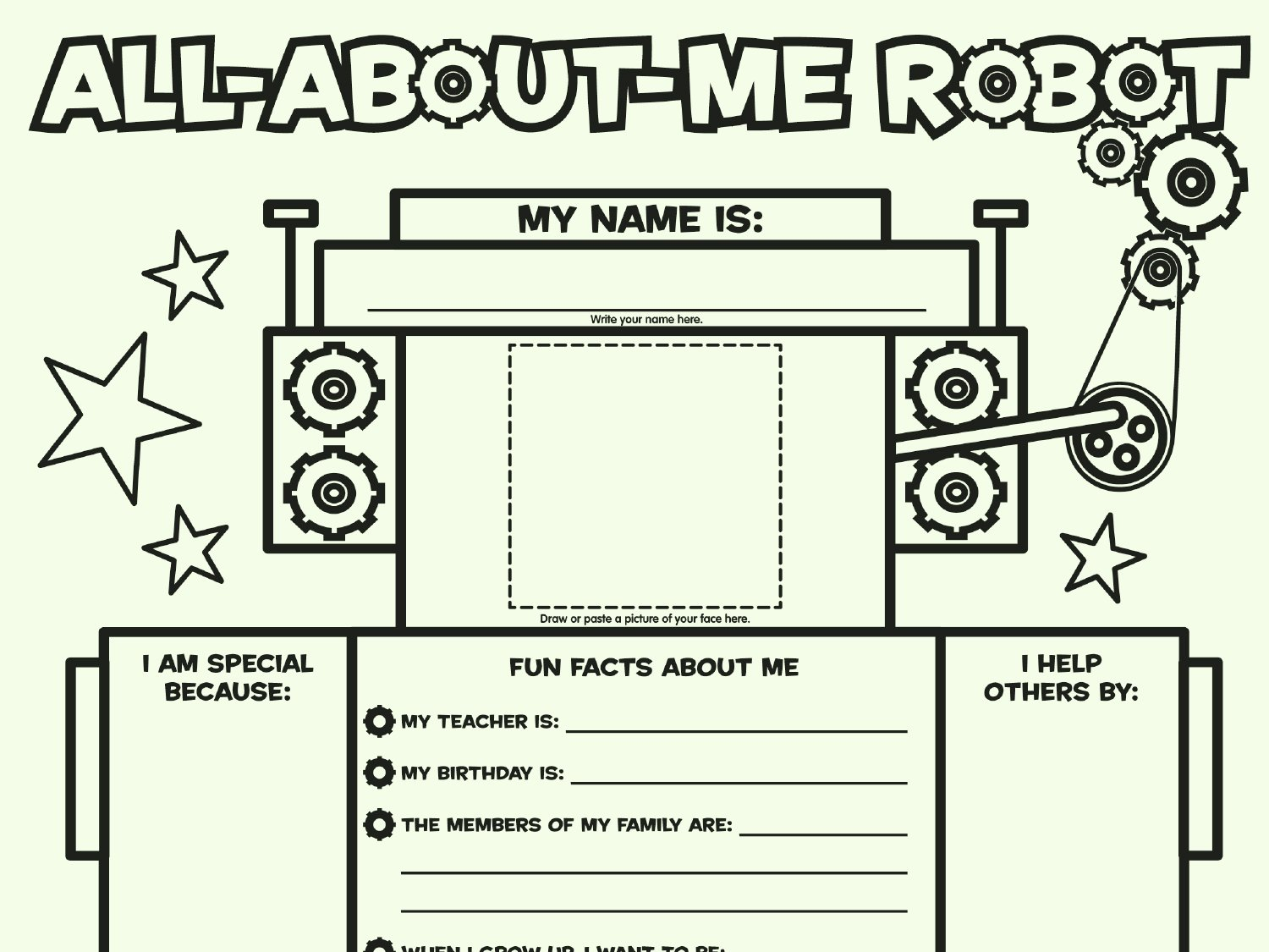 All About Me Worksheet Pdf Unique All About Me Robot Fill In Poster