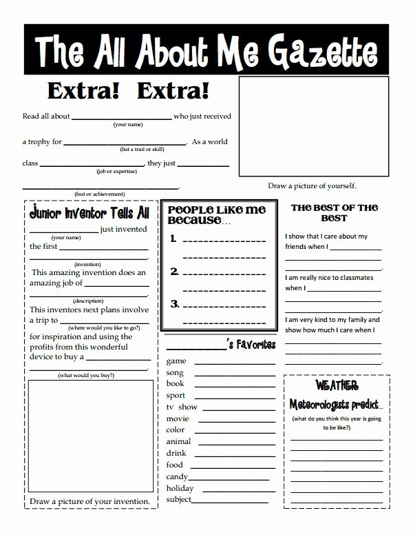 All About Me Worksheet Pdf Unique First Day Of School to to Know Kids All About Me