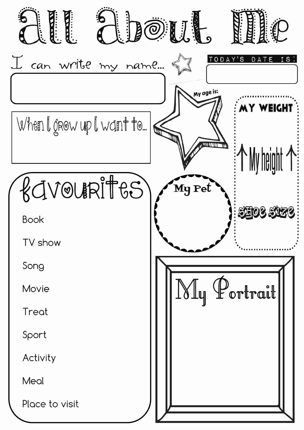 All About Me Worksheet Preschool Awesome All About Me Activity Sheet by Ernie and Bird for Pre