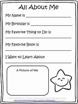 All About Me Worksheet Preschool Beautiful All About Me Free First Grade Writing