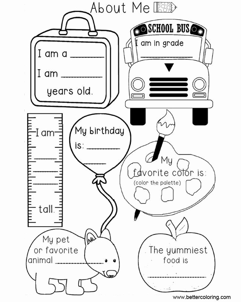 All About Me Worksheet Preschool Elegant Preschool All About Me Coloring Pages Worksheets Free
