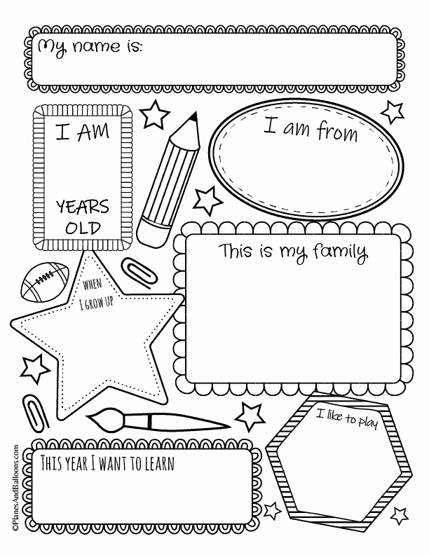 All About Me Worksheet Preschool Fresh All About Me Worksheets 01 Planes & Balloons