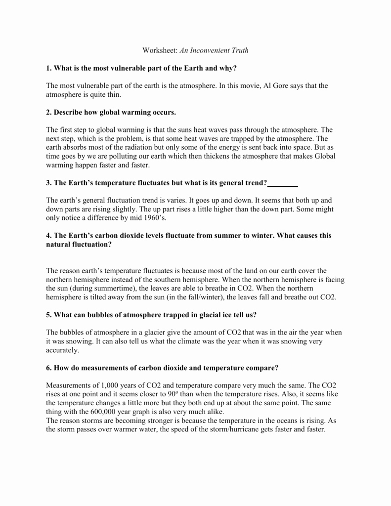 An Inconvenient Truth Worksheet Awesome An Inconvenient Truth Worksheet