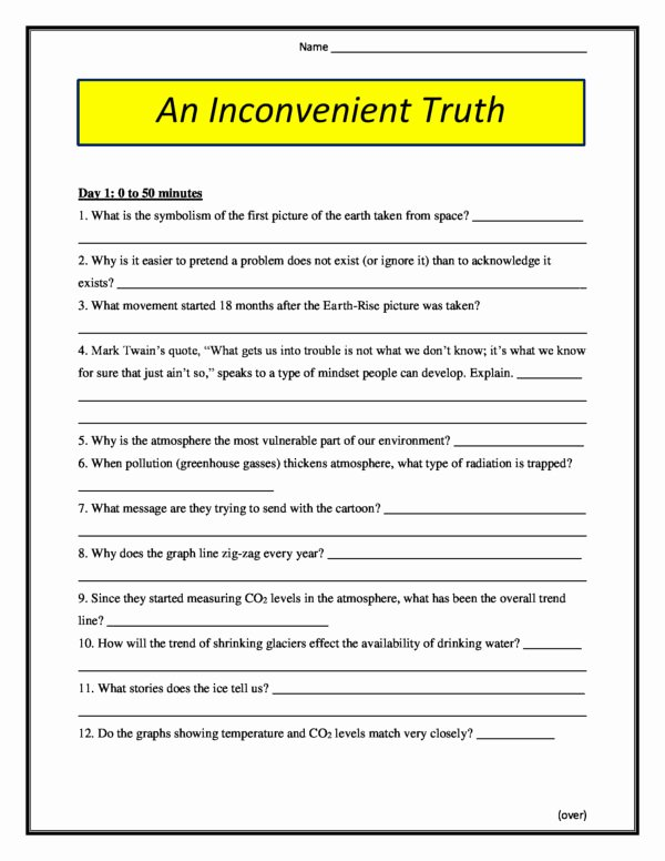 An Inconvenient Truth Worksheet Fresh An Inconvenient Truth Worksheet 2006 Conceptual