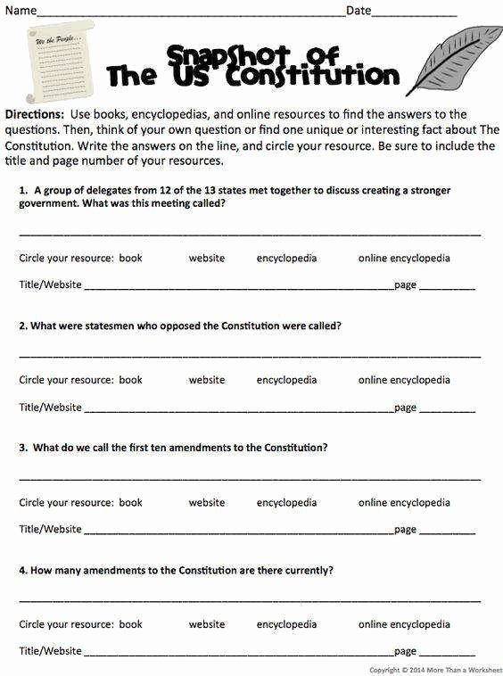Anatomy Of the Constitution Worksheet New Constitution Worksheet