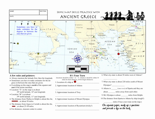 Ancient Greece Map Worksheet Awesome Worksheet Ancient Greece Latitude Longitude Questions