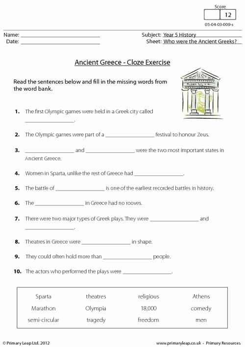 Ancient Greece Map Worksheet Best Of Primaryleap Ancient Greece Cloze Activity