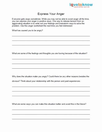 Anger Management Worksheet for Teenagers Best Of Free Anger Worksheets