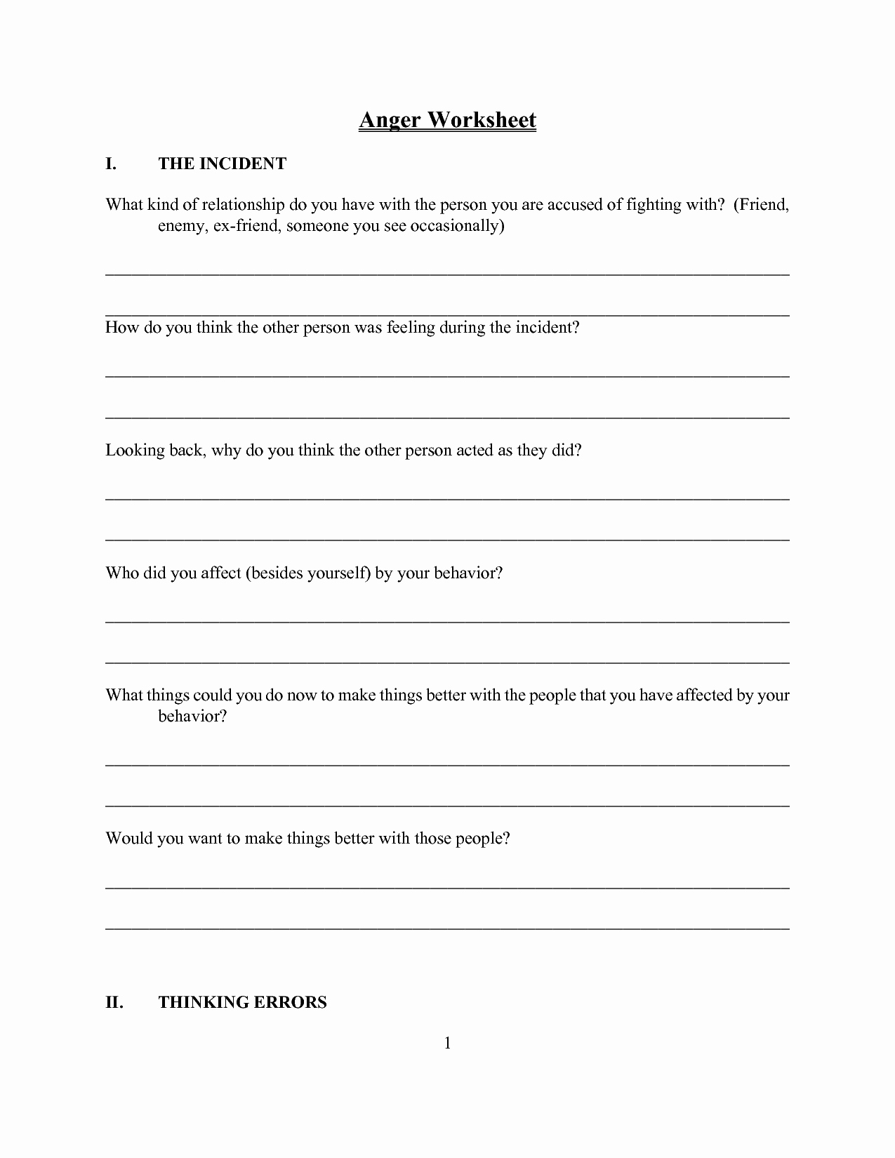 Anger Management Worksheet for Teenagers Lovely 19 Best Of Anger Worksheets for Adults Anger