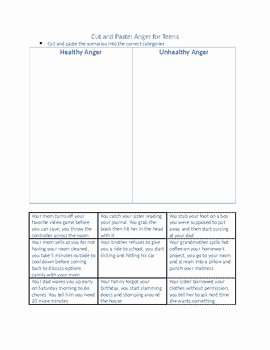 Anger Management Worksheet for Teenagers New Anger Worksheets for Teens by In Home Counseling Resources