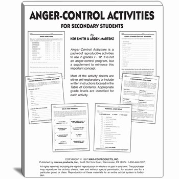 Anger Management Worksheet for Teens Elegant Anger Control Activities for Grades 7 to 12