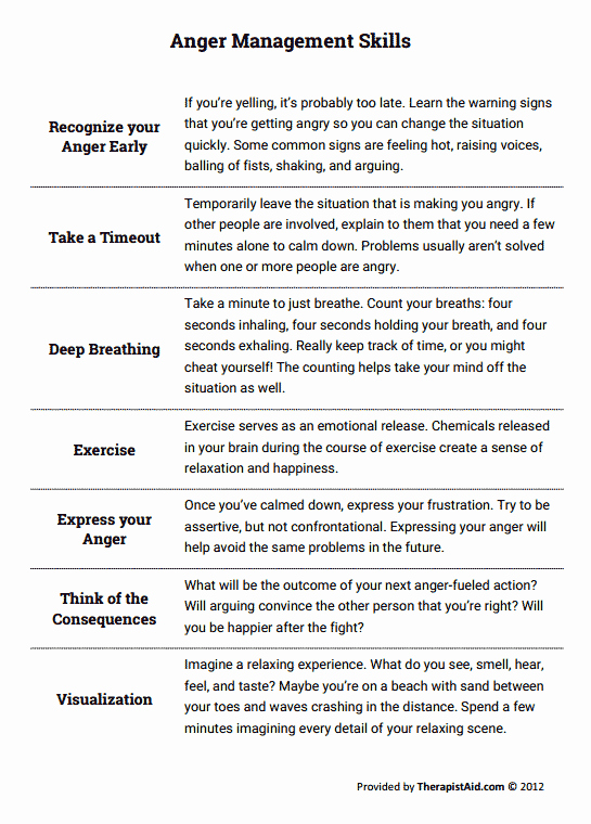 Anger Management Worksheet for Teens Unique Anger Management Skills