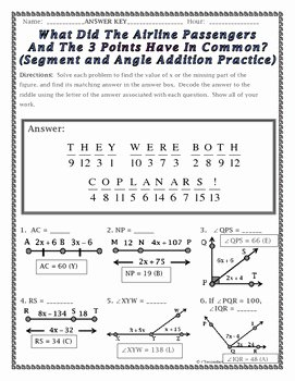 Angle Addition Postulate Worksheet Awesome Angle Addition Postulate Riddle Worksheet by Secondary