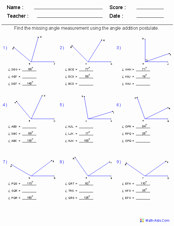 Angle Addition Postulate Worksheet Awesome Geometry Worksheets