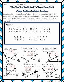 Angle Addition Postulate Worksheet Best Of Angle Addition Postulate Riddle Worksheet by Secondary