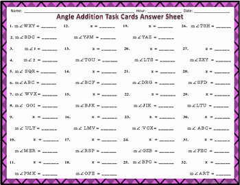 Angle Addition Postulate Worksheet Elegant Angle Addition Postulate Task Cards by Secondary Math Shop