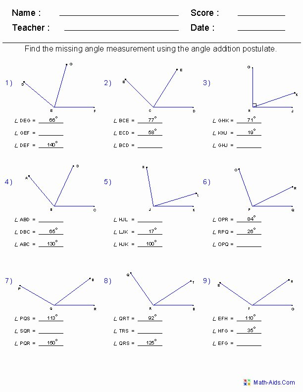 Angle Addition Postulate Worksheet Elegant Segment Addition Postulate Worksheet