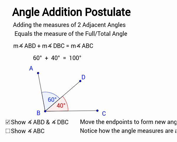 Angle Addition Postulate Worksheet Inspirational Angle Addition Postulate Geogebra