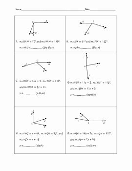 Angle Addition Postulate Worksheet Luxury Angle Addition Postulate Color by Number by Awesome Things