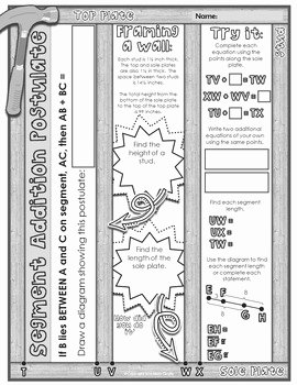 Angle Addition Postulate Worksheet Luxury Segment & Angle Addition Postulates Doodle Notes by Math