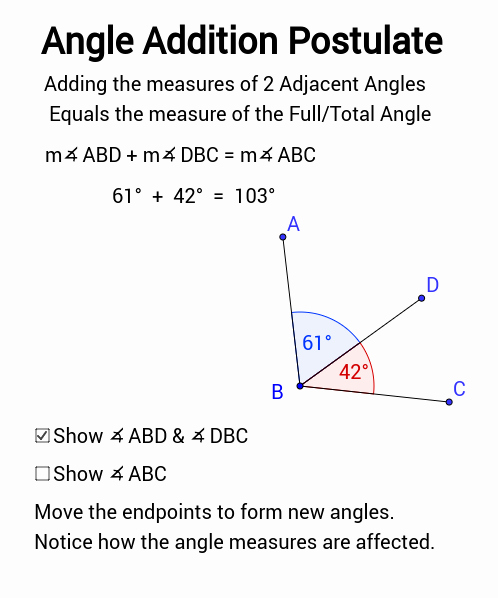 Angle Addition Postulate Worksheet Unique Angle Addition Postulate Geogebra