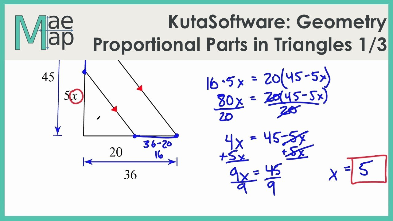 Angle Bisector theorem Worksheet Awesome Kutasoftware Geometry Proportional Parts In Triangles
