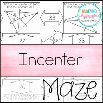 Angle Bisector theorem Worksheet Best Of Incenter Maze