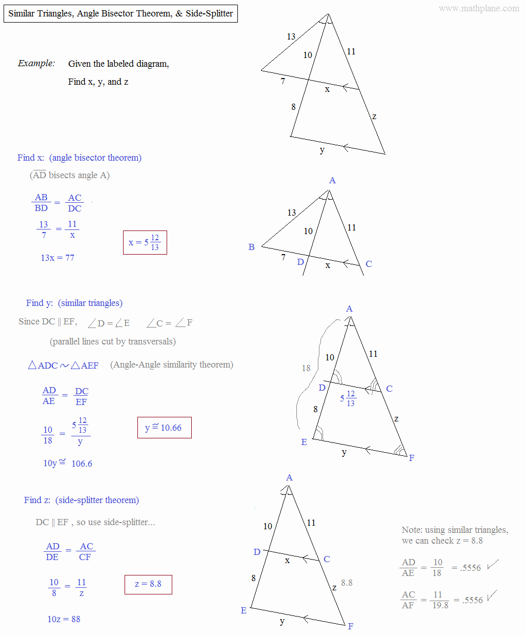 Angle Bisector theorem Worksheet Elegant Math Plane Similar Triangles & Ratios