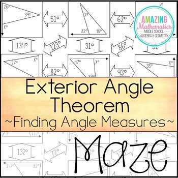 Angle Bisector theorem Worksheet Luxury Exterior Angle theorem Maze Finding Angle Measures by
