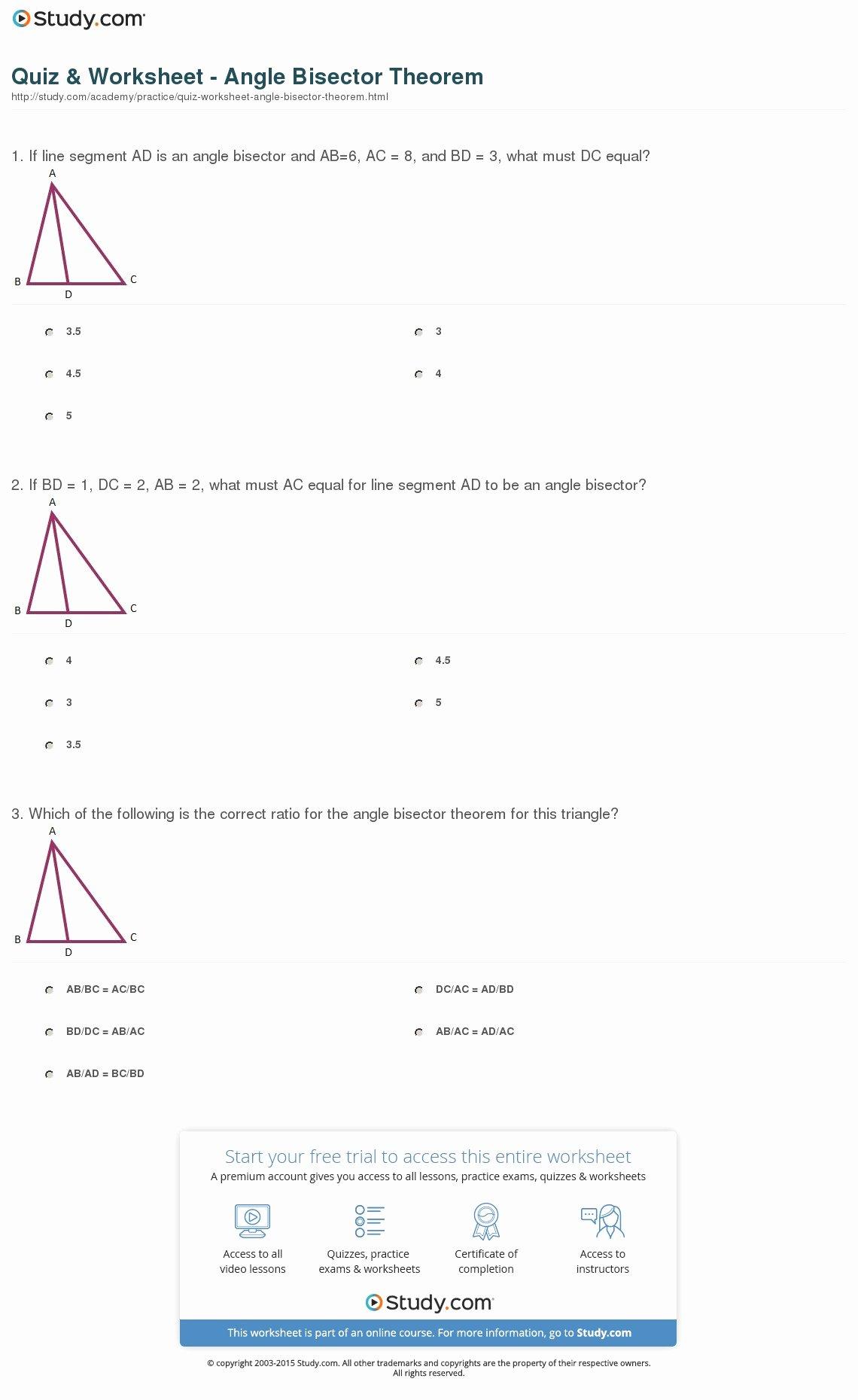 Angle Bisector theorem Worksheet Unique Quiz & Worksheet Angle Bisector theorem