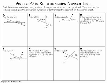Angle Pair Relationships Practice Worksheet Fresh Angle Pair Relationships Cut and Paste Activity by Mrs E