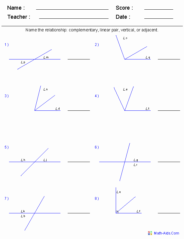 Angle Pair Relationships Practice Worksheet New Geometry Worksheets