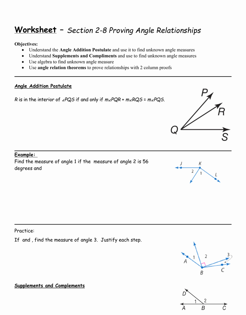 Angle Pair Relationships Practice Worksheet Unique Angle Pair Relationships Number Line Worksheet Answers In