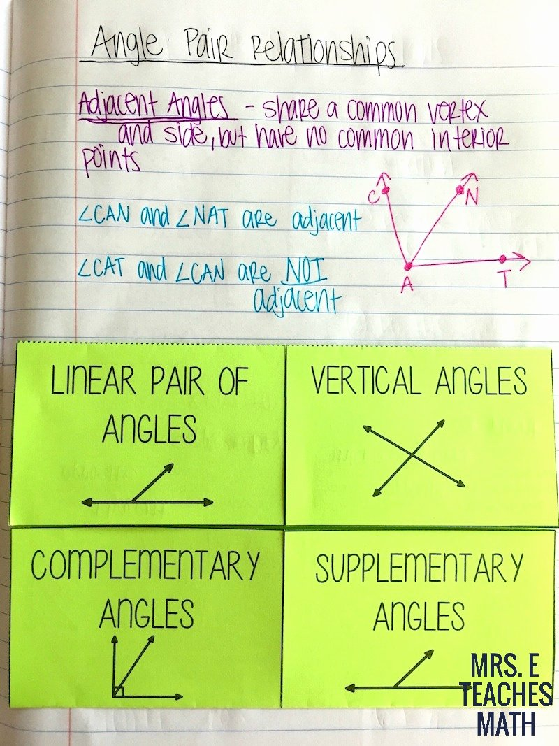 Angle Pair Relationships Practice Worksheet Unique Angles and Relationships Inb Pages