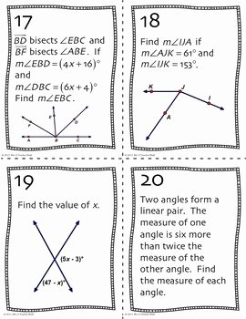 Angle Pair Relationships Worksheet Beautiful Angle Pair Relationships Task Cards by Mrs E Teaches Math