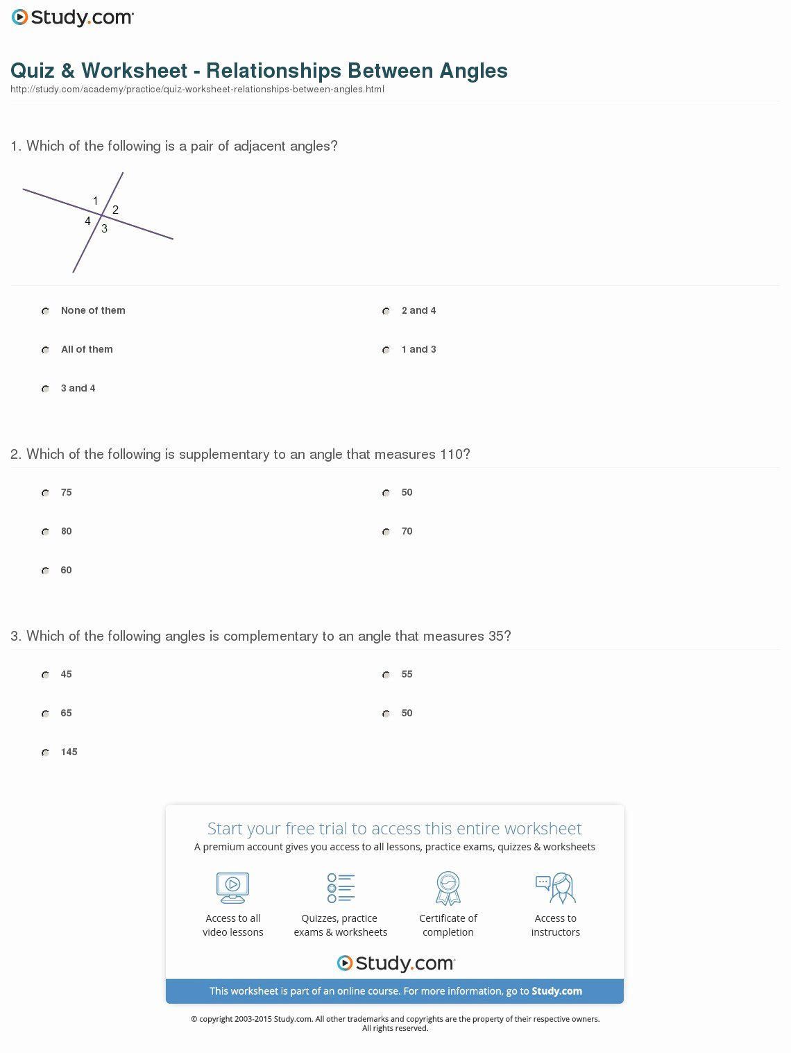 Angle Pair Relationships Worksheet Elegant Quiz & Worksheet Relationships Between Angles