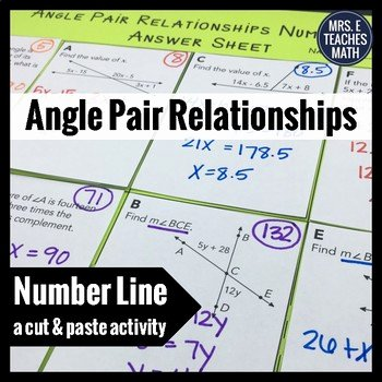 Angle Pair Relationships Worksheet Inspirational Angle Pair Relationships Cut and Paste Activity by Mrs E