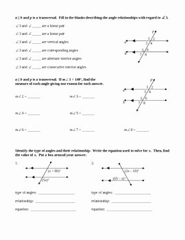 Angle Pair Relationships Worksheet Inspirational Parallel Lines Cut by Transversal by Beth Shomberg