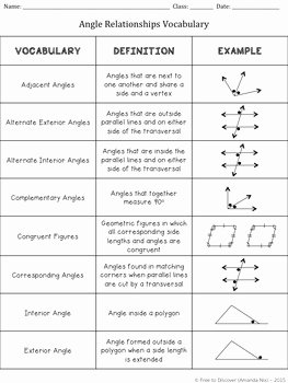 Angle Pair Relationships Worksheet Luxury 7th Grade Geometry Angle Relationships Free Tpt Activities