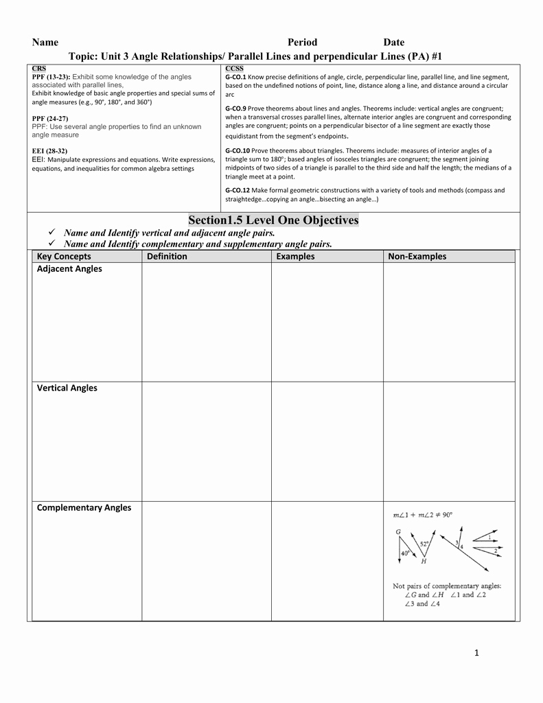 Angle Pair Relationships Worksheet New 1 Pg 42 11 16 2 Angle Pair Relationships Practice