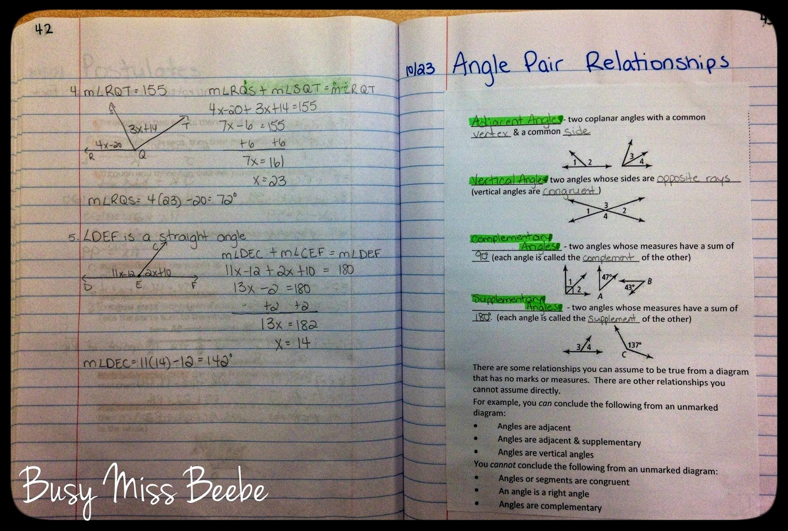 Angle Pair Relationships Worksheet New Busy Miss Beebe 2014 2015 Geometry Inb Unit 3 Lines