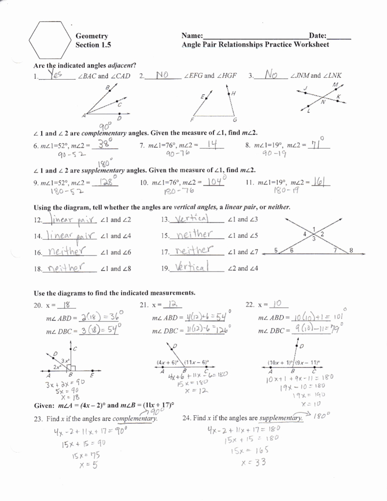 Angle Pair Relationships Worksheet New T Tt 5r=6a X = L2 I