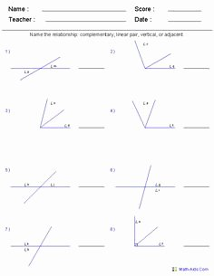 Angle Pair Relationships Worksheet Unique 1000 Images About Math Worksheet Angles On Pinterest