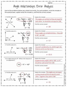 Angle Pair Relationships Worksheet Unique Angle Relationships Error Analysis Ccss 7 G B 5 Aligned