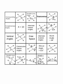 Angle Relationships Worksheet Answers Awesome Geometry Angle Relationships Bingo by Tanya Rachel