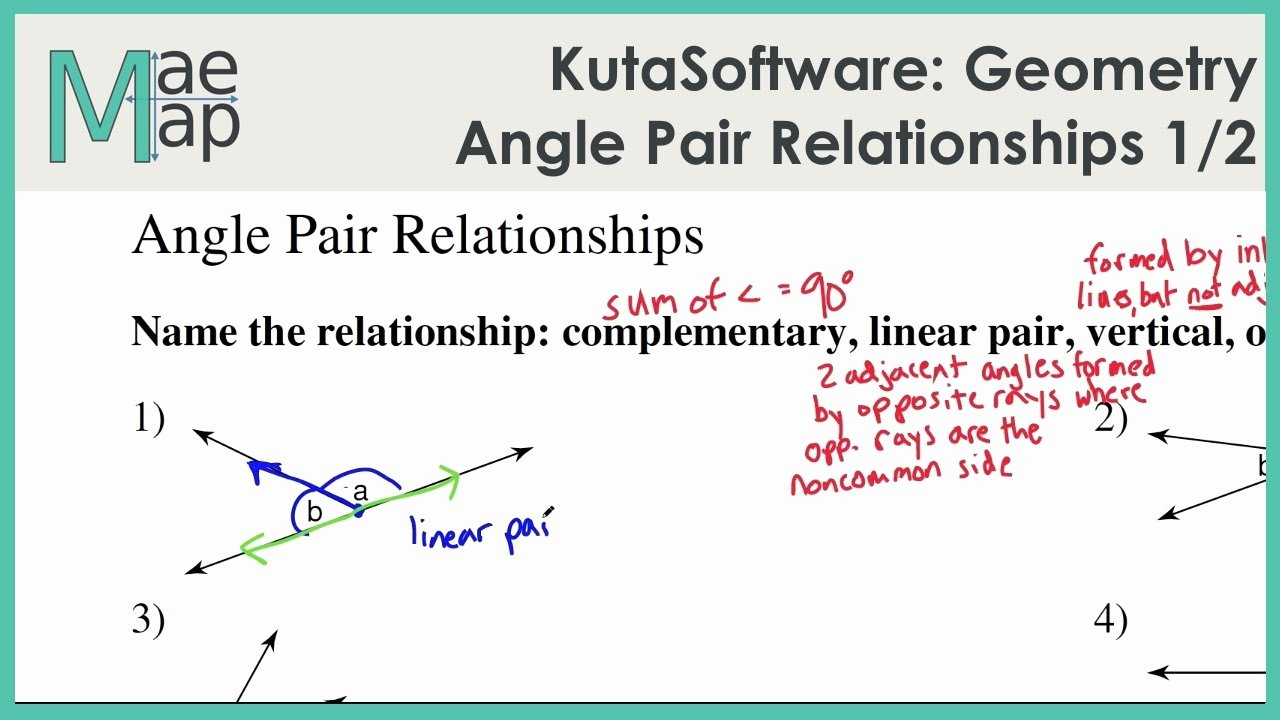 Angle Relationships Worksheet Answers Awesome Kutasoftware Geometry Angle Pair Relationships Part 1