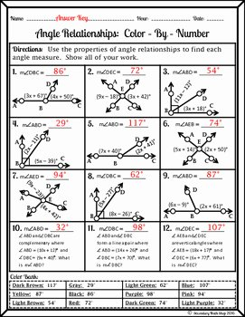 Angle Relationships Worksheet Answers Elegant Angle Relationships Color by Number Worksheet by Secondary