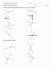 Angle Relationships Worksheet Answers Fresh 2 Angle Pair Relationships Pdf Kuta software Infinite